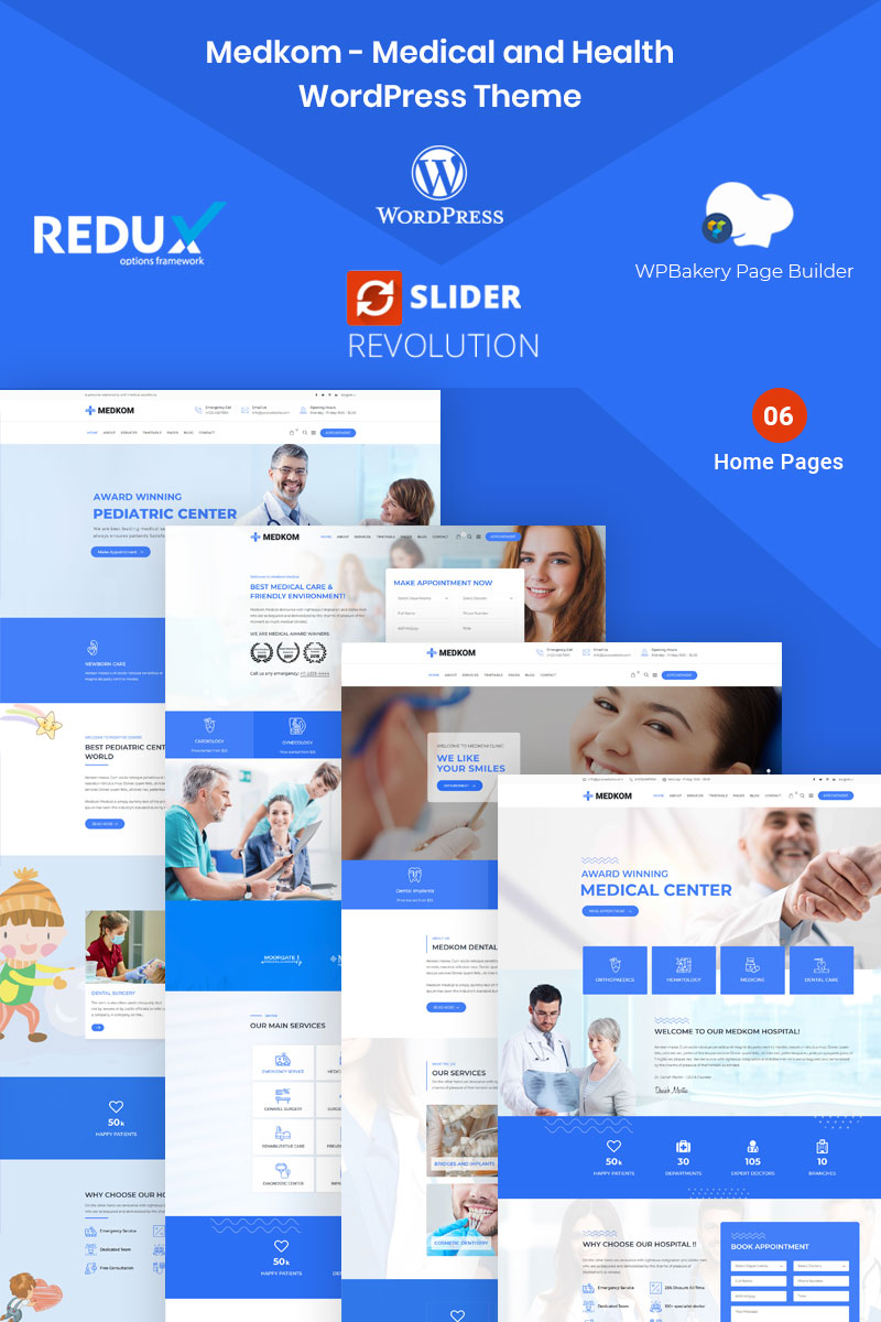 """Medkom -  Medical & Health"" - адаптивний WordPress шаблон №97870"