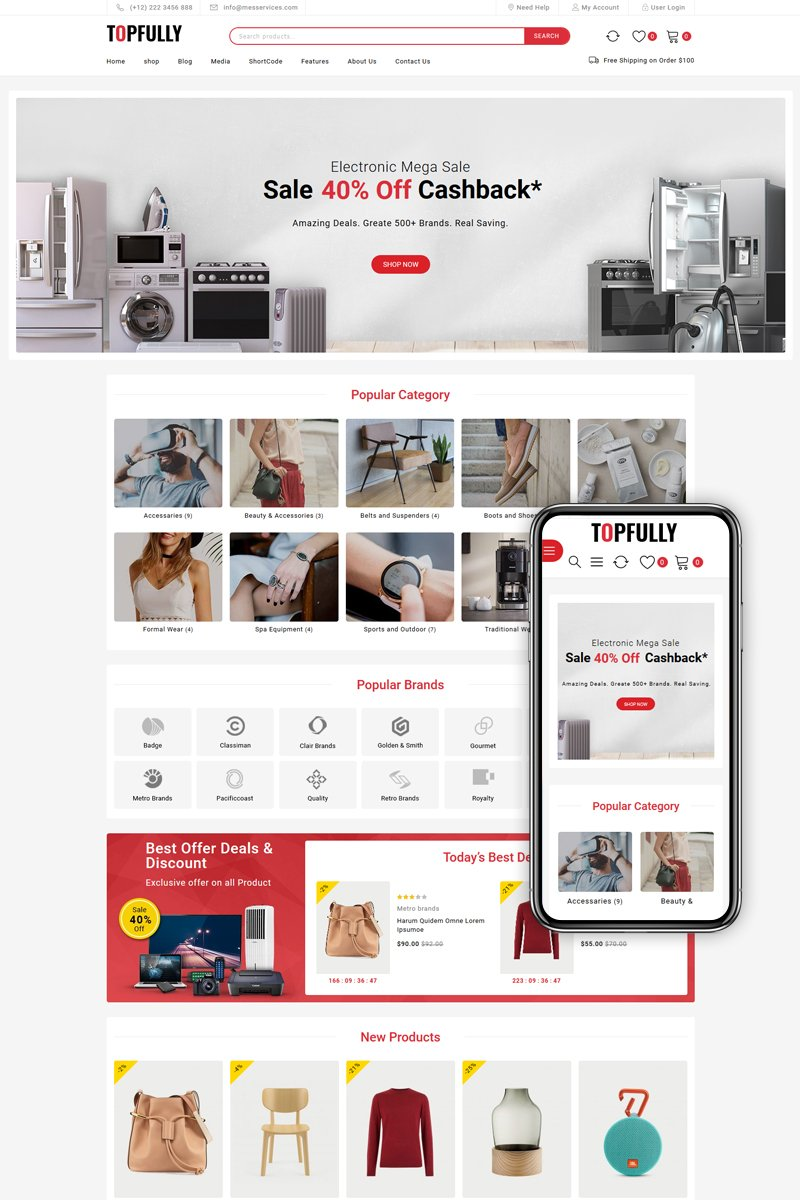 "Modello WooCommerce Responsive #97871 ""TopFully - Multipurpose"""