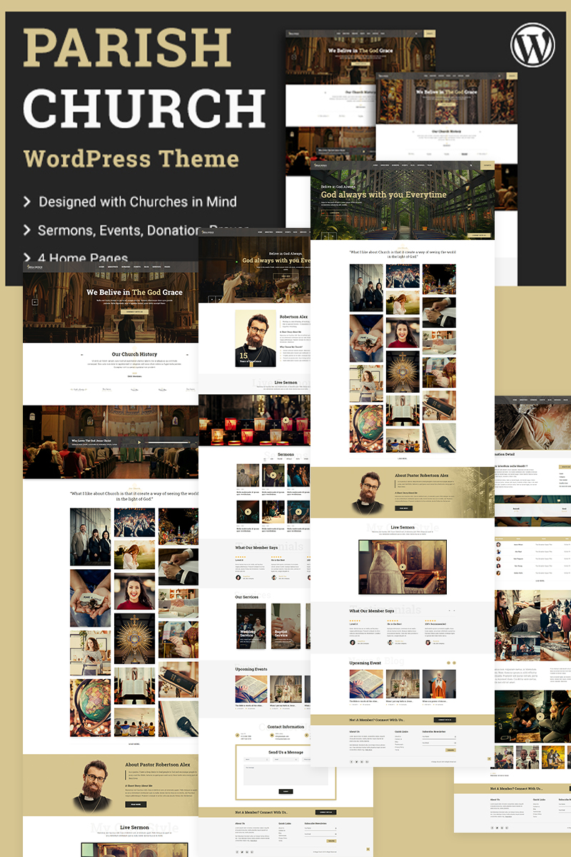 """Parish   Church"" - адаптивний WordPress шаблон №97866"