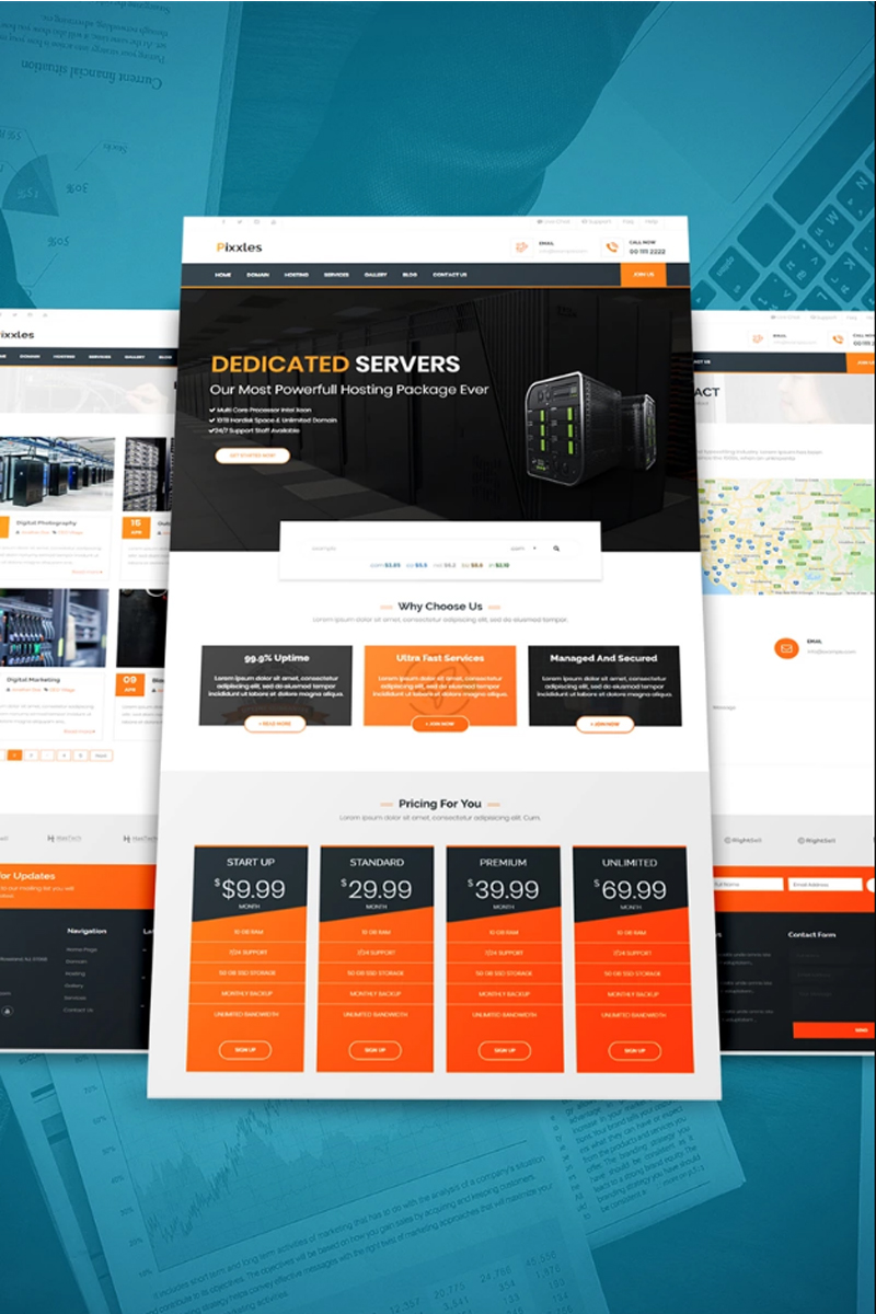 """""""Pixxles - Hosting Template with WHMCS"""" Bootstrap WordPress thema №97861"""
