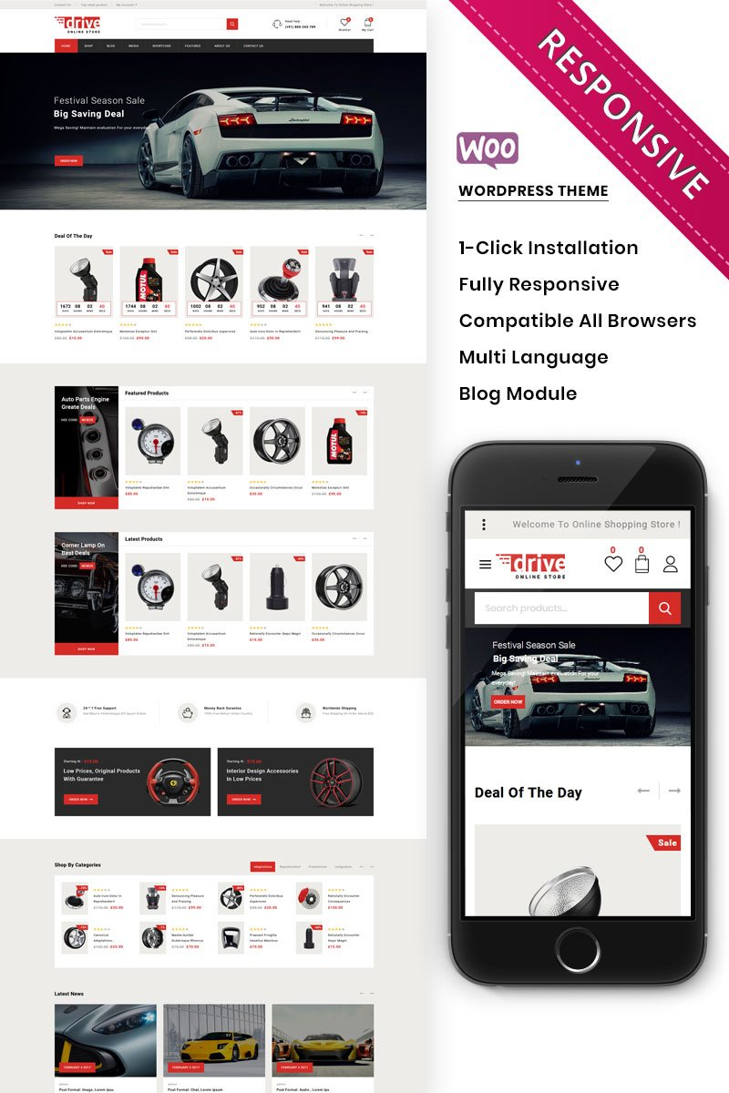 Responsywny motyw WooCommerce Drive - The Online Autoparts Store Premium #97876