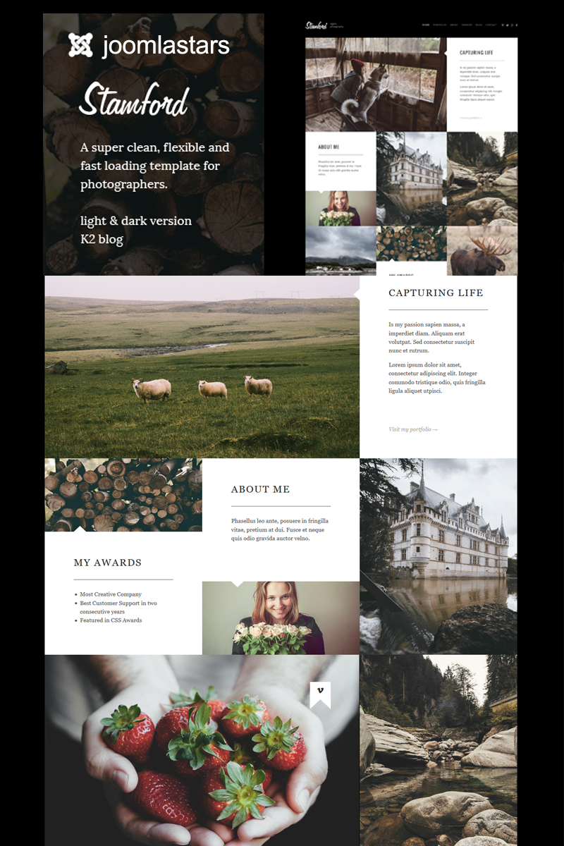"Tema Joomla Responsive #97863 ""Stamford - Photography, Portfolio And Blog"""