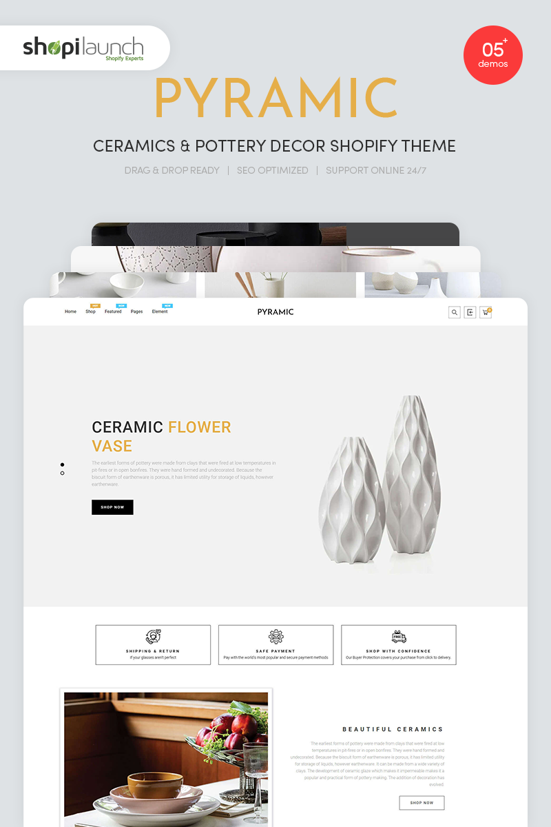 "Template Shopify #97864 ""Pyramic - Ceramics & Pottery Decor"""