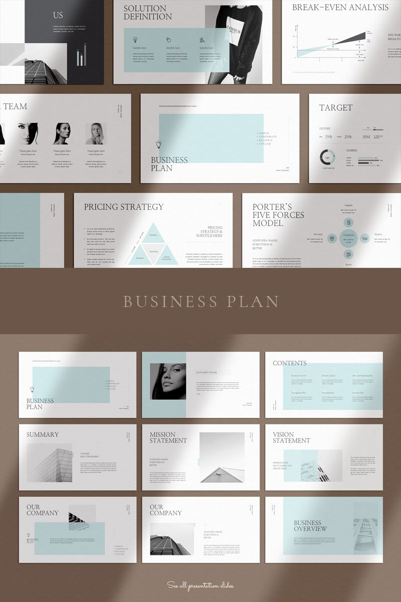 Clean & Clear Business Plan Google Slides