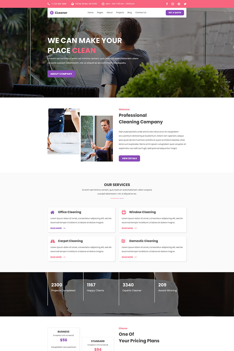 Cleaner - Cleaning Services PSD PSD Template