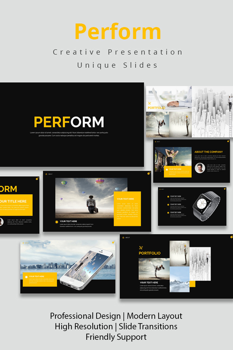 """Perform"" Keynote Template №97992"