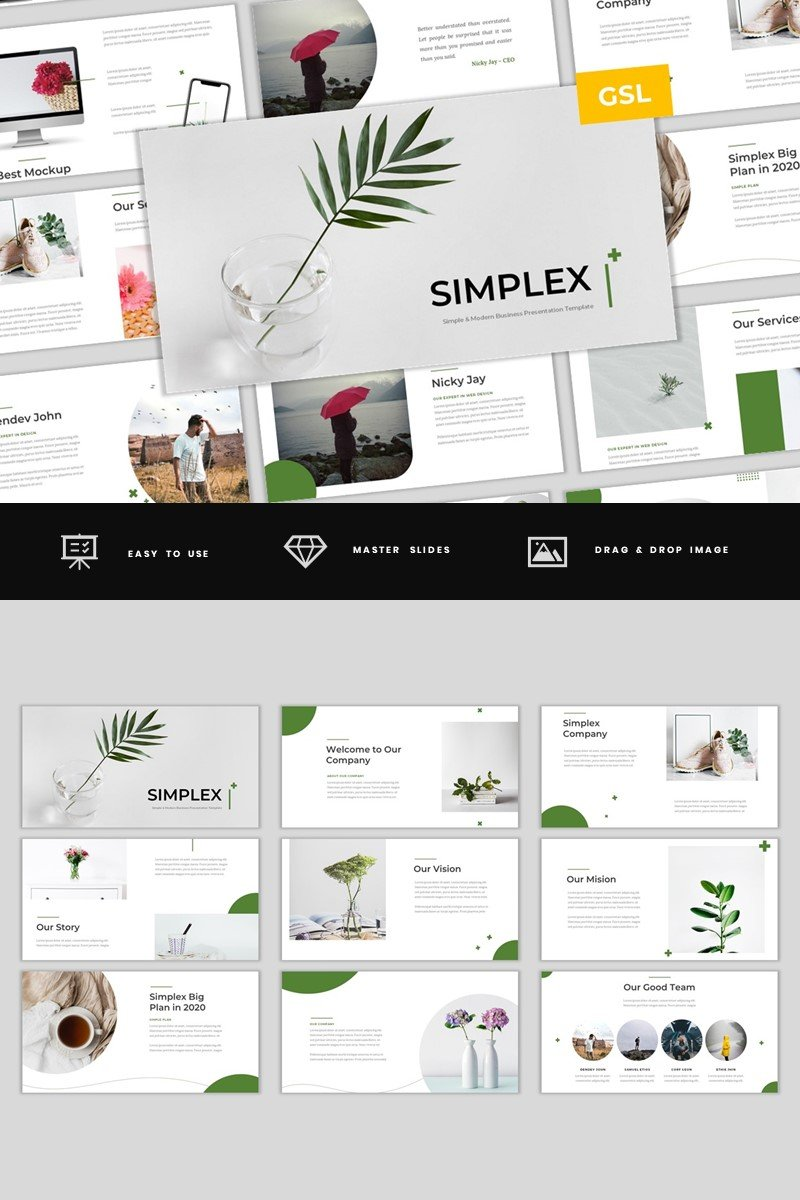 Simplex - Simple & Modern Business Google Slides Template #97963