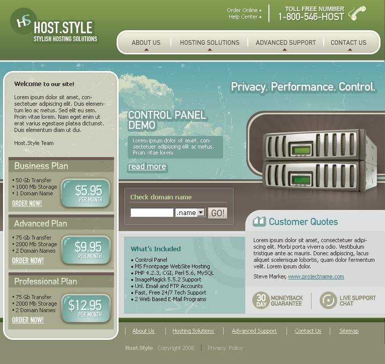 Hosting Website Template #9850