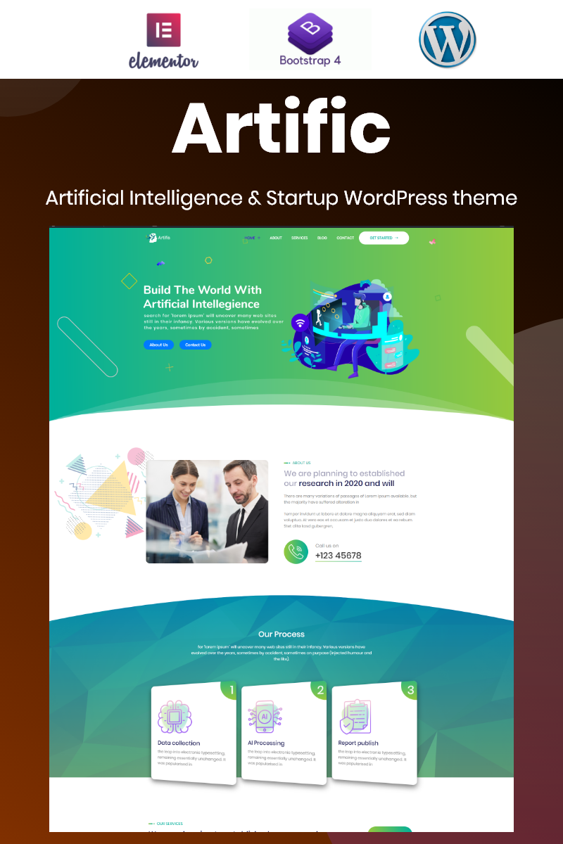 Artific - Artificial Intelligence and Startup Bootstrap Elementor WordPress Theme