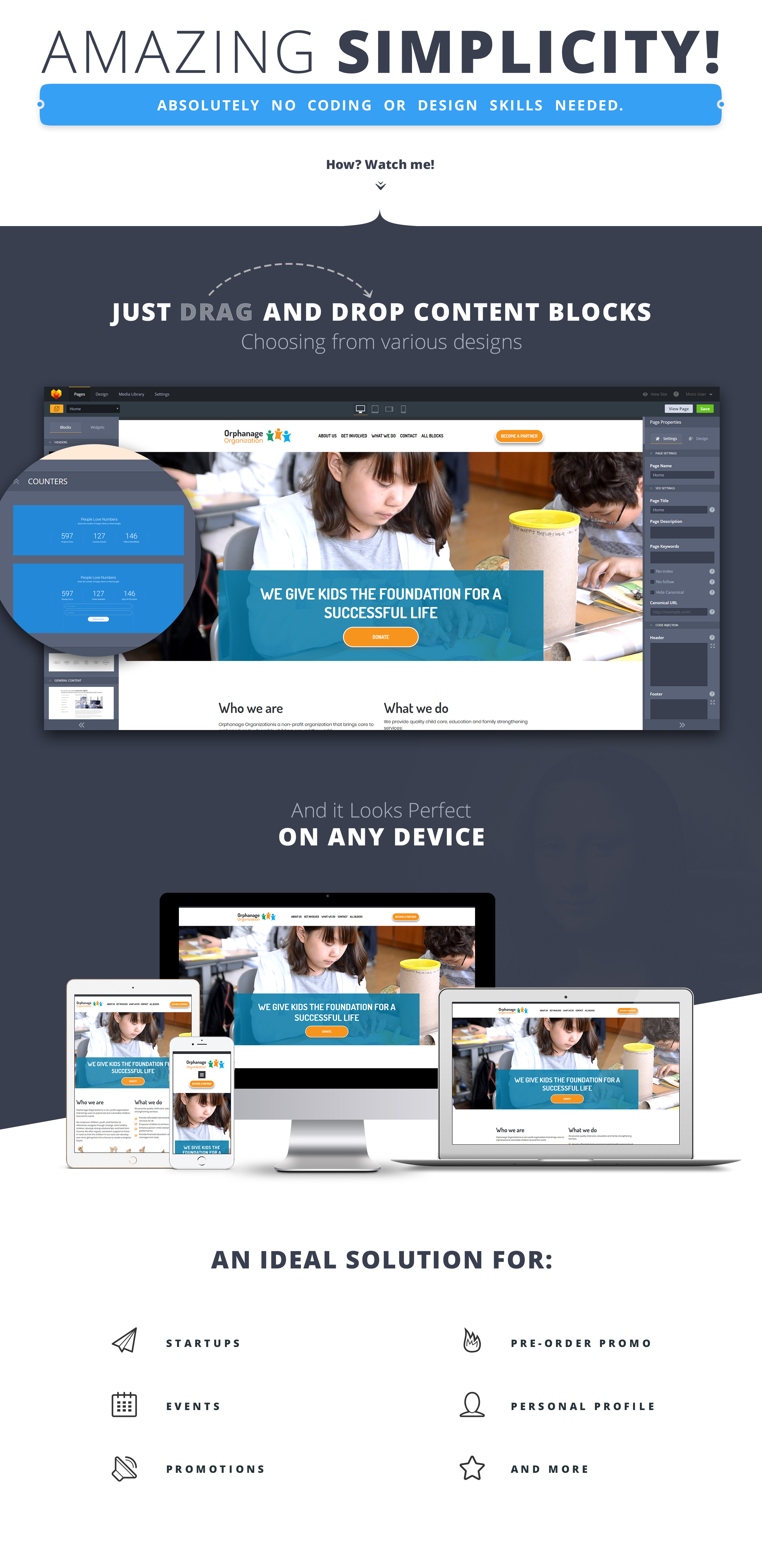 Orphanage - Charity Organization Landing Page Template