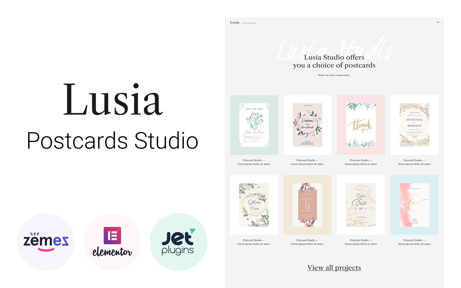 """Lusia - Card Design Website"" 响应式WordPress模板 #98030"