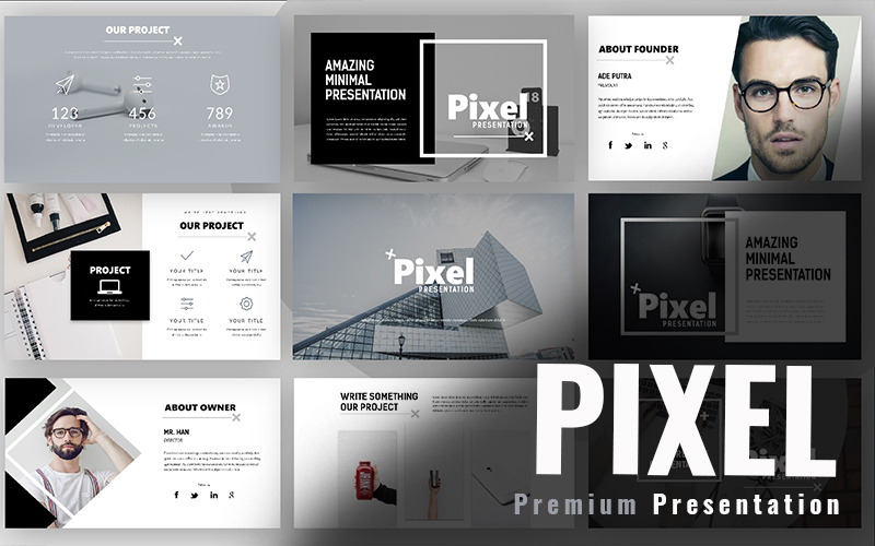 Pixel Minimal PowerPoint Template - screenshot