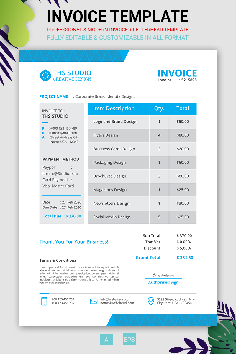Professional Invoice Corporate Identity Template