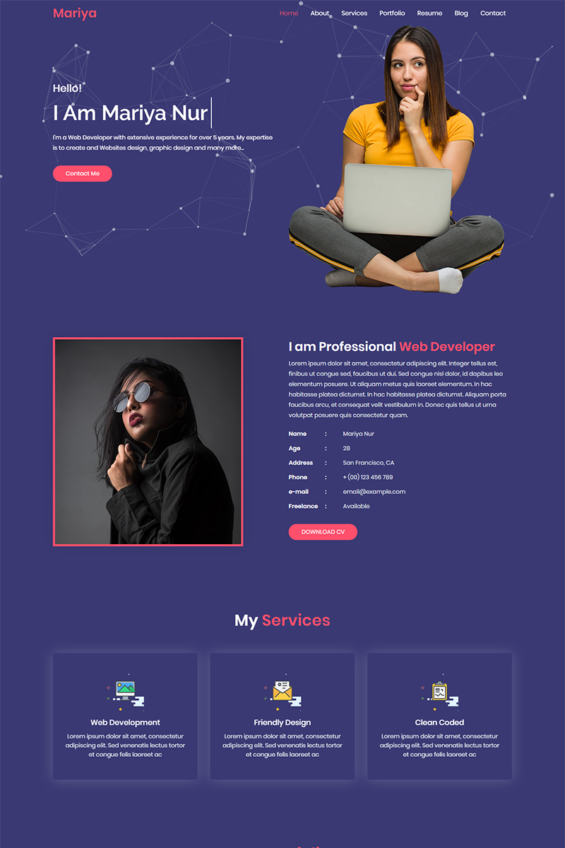 Mariya Personal Portfolio Landing Page Template