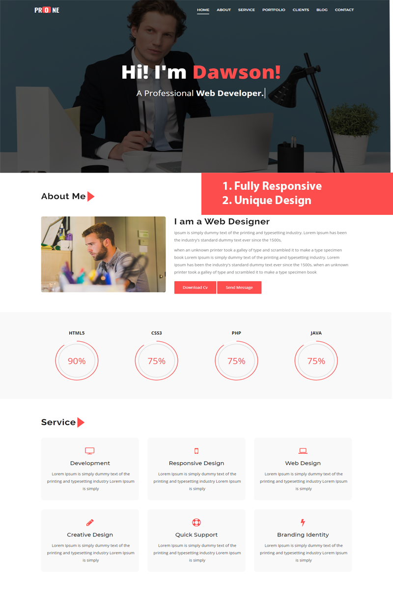 Prone Landing Page Template