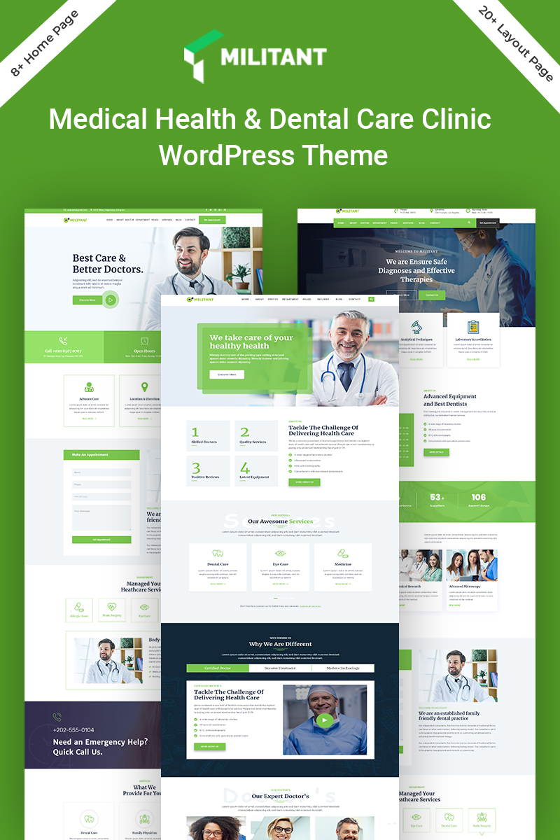 Militant-Medical & Health Tema WordPress №98138