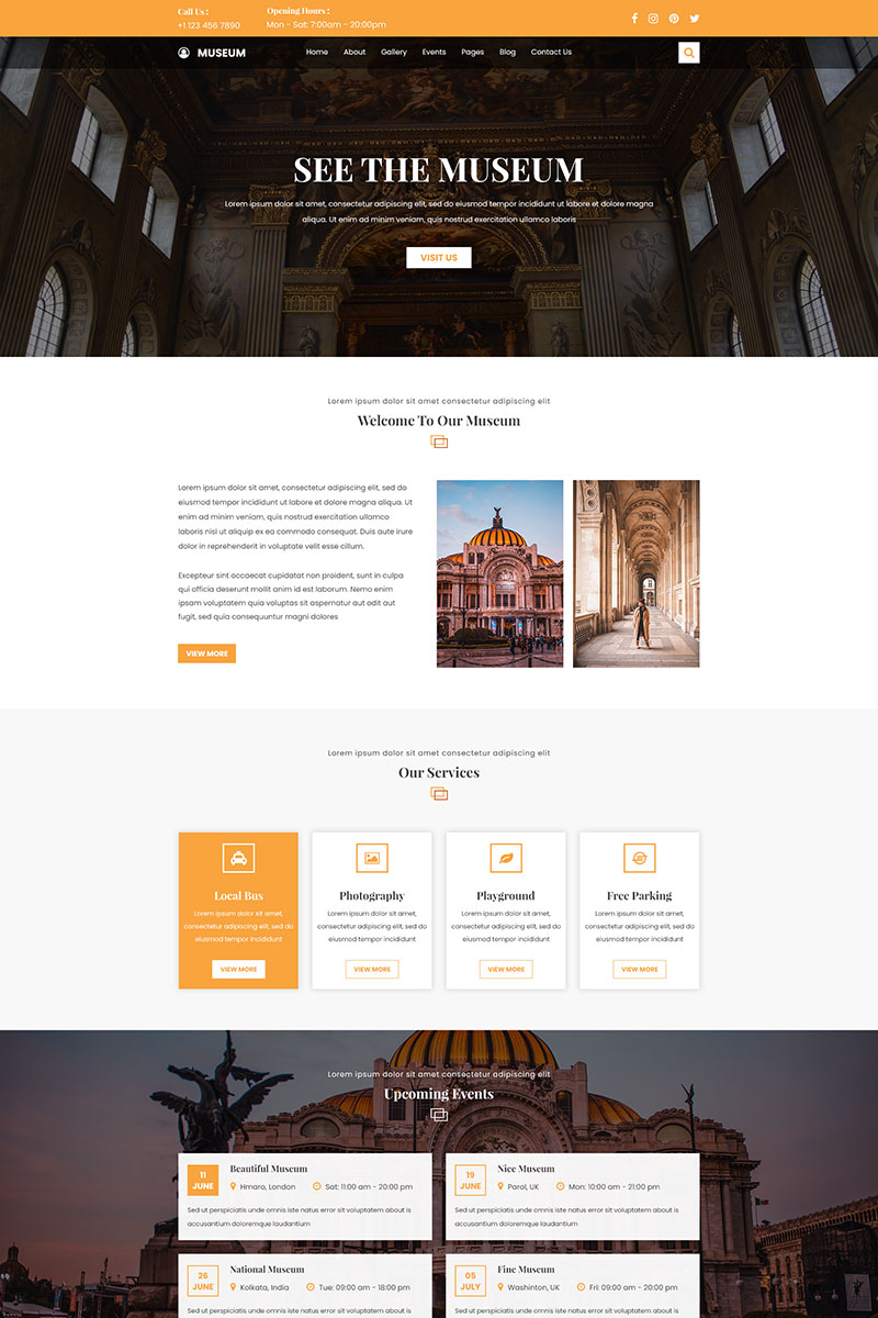 "Plantilla PSD ""Museum and Exhibition website"" #98139"