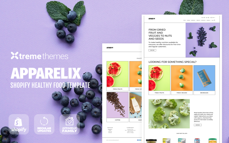 Responsivt Apparelix Healthy Food eCommerce Template Shopify-tema #98130