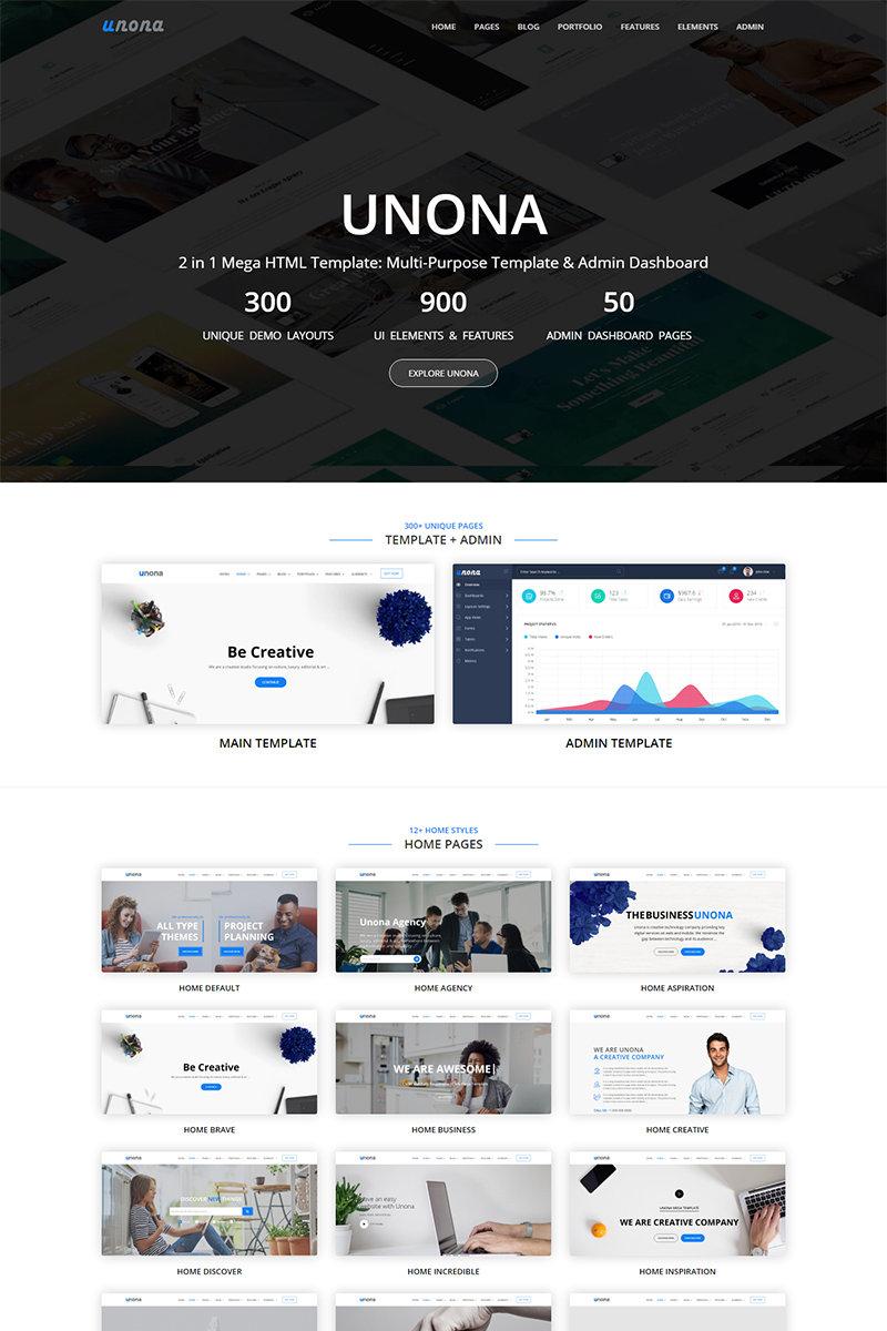 "Template Siti Web Responsive #98131 ""Unona - All in One Mega HTML"""