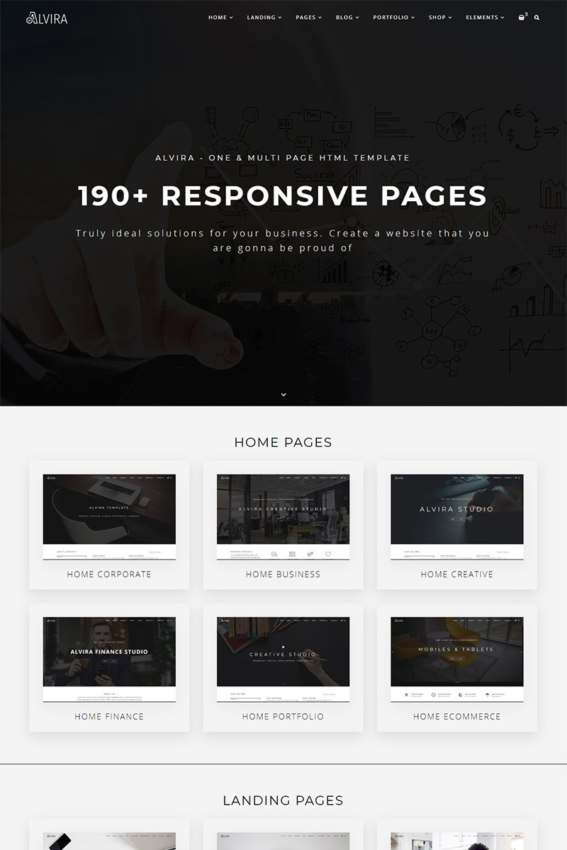 """""""Alvira - One and Multi Page HTML"""" Responsive Website template №98276"""