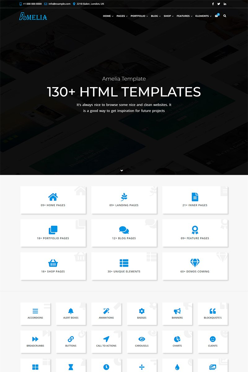Amelia - All in One Business Website Template - screenshot