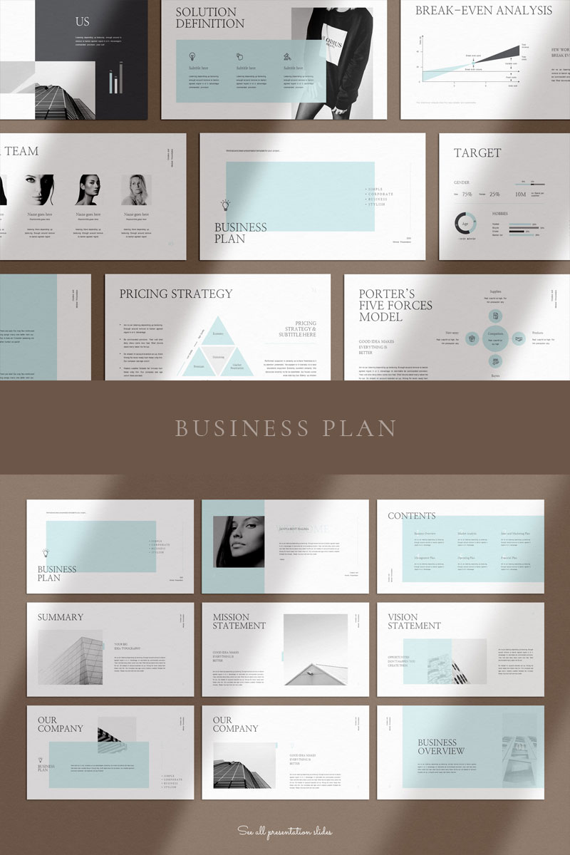 Clean and Clear Business Plan PowerPoint Template