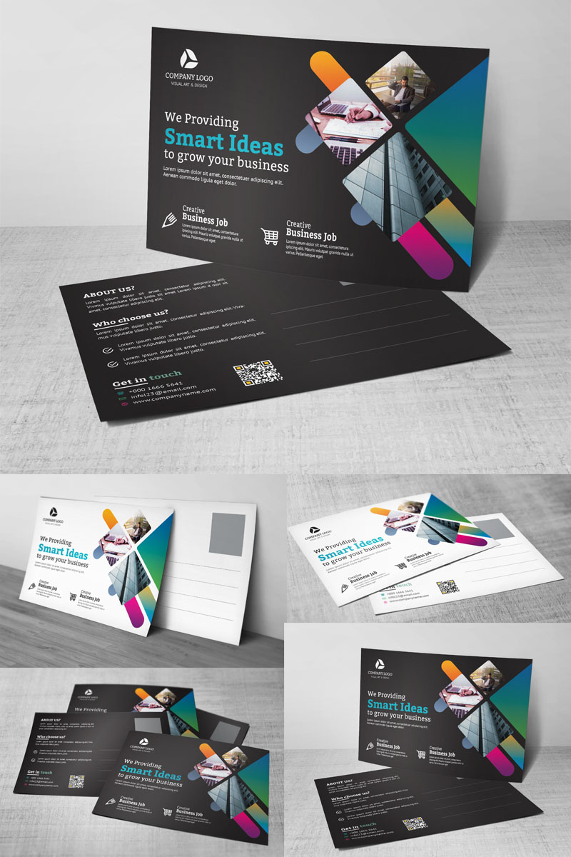 Dark Color Post Card Corporate Identity Template - screenshot