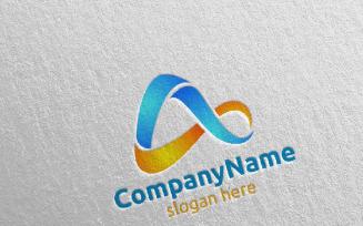 Digital Letter A Design Logo Template