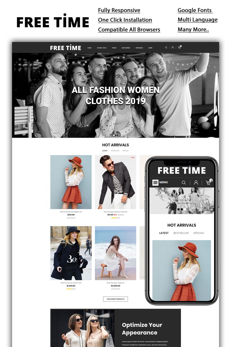 Freetime - Fashion Store OpenCart Template - screenshot