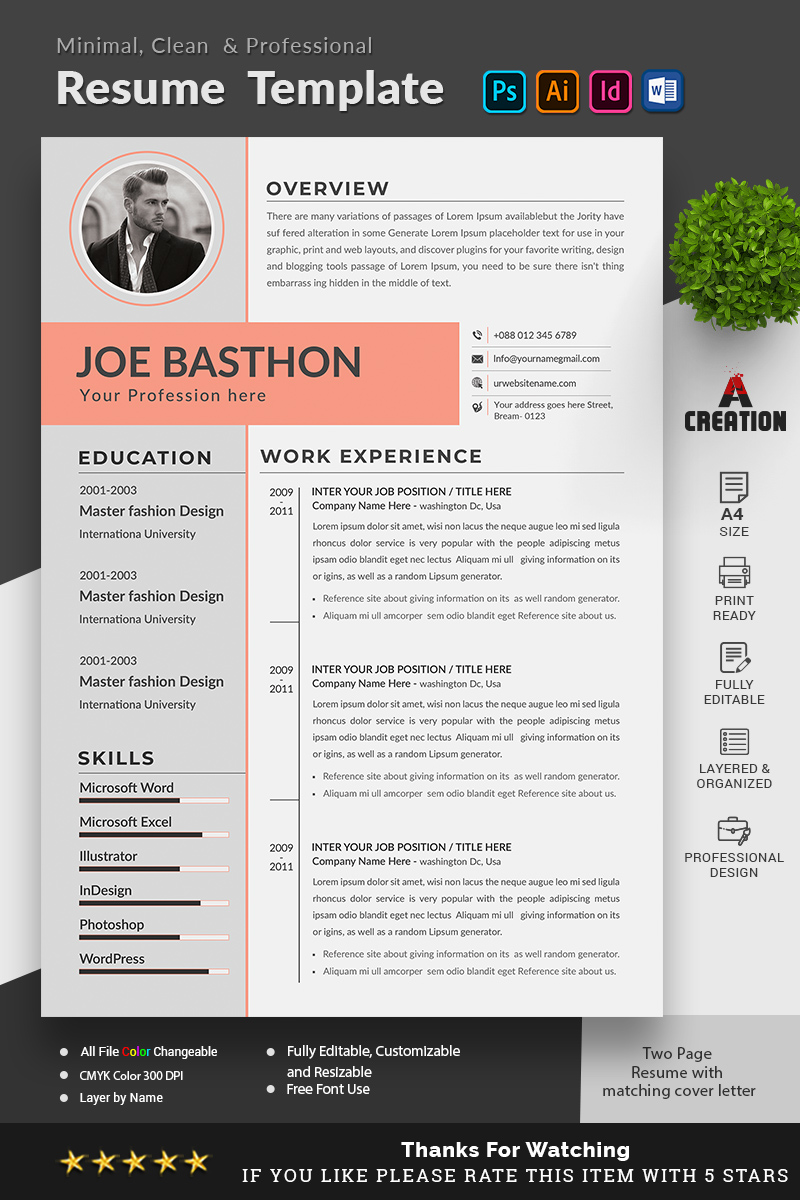 Joe Basthon Editable Resume Template - screenshot