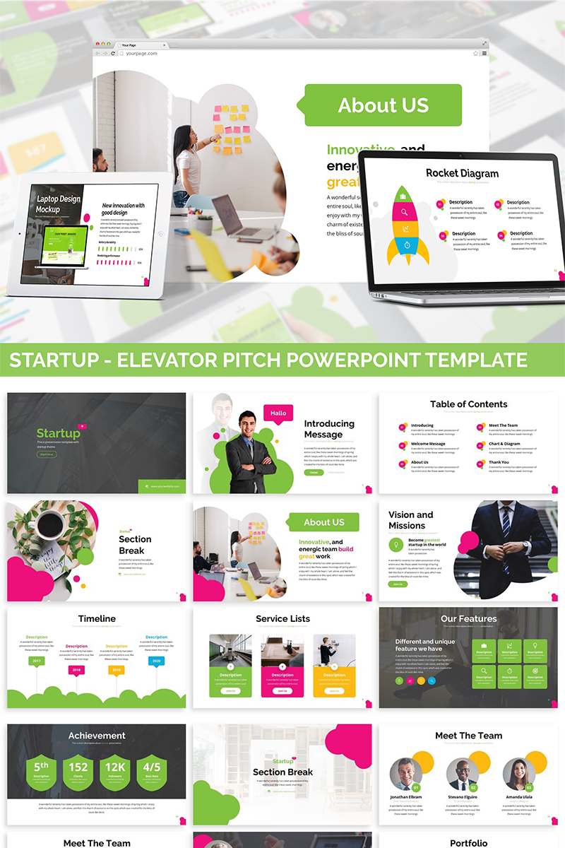 Startup - Elevator Pitch PowerPoint Template