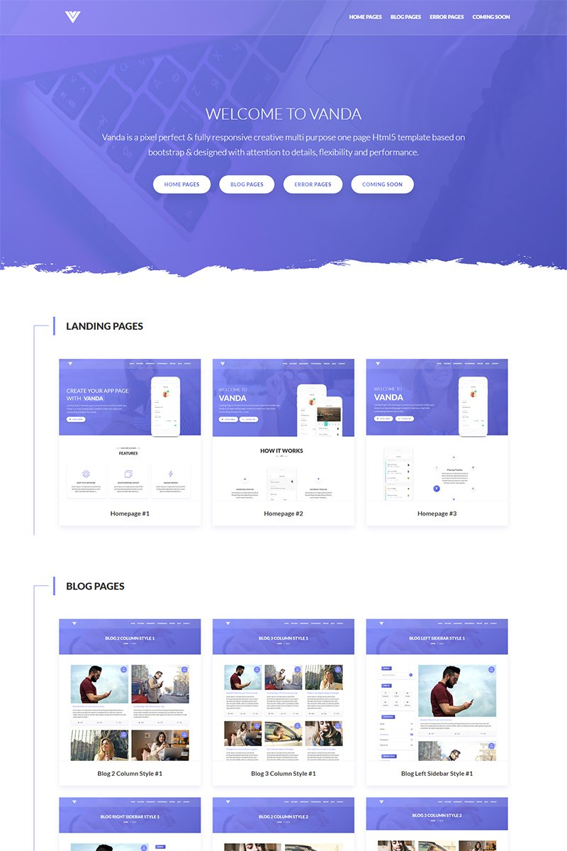 Vanda - One & Other Pages Landing Page Template