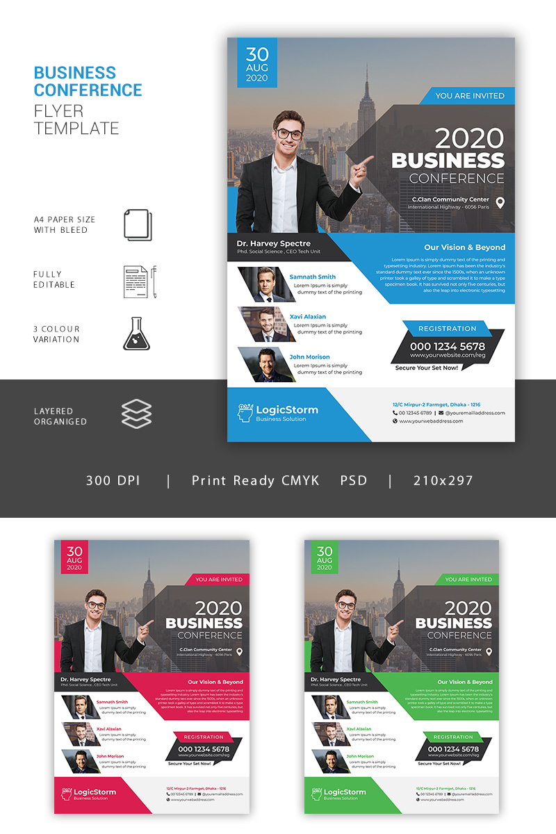 Business Conference Flyer Corporate Identity Template - screenshot