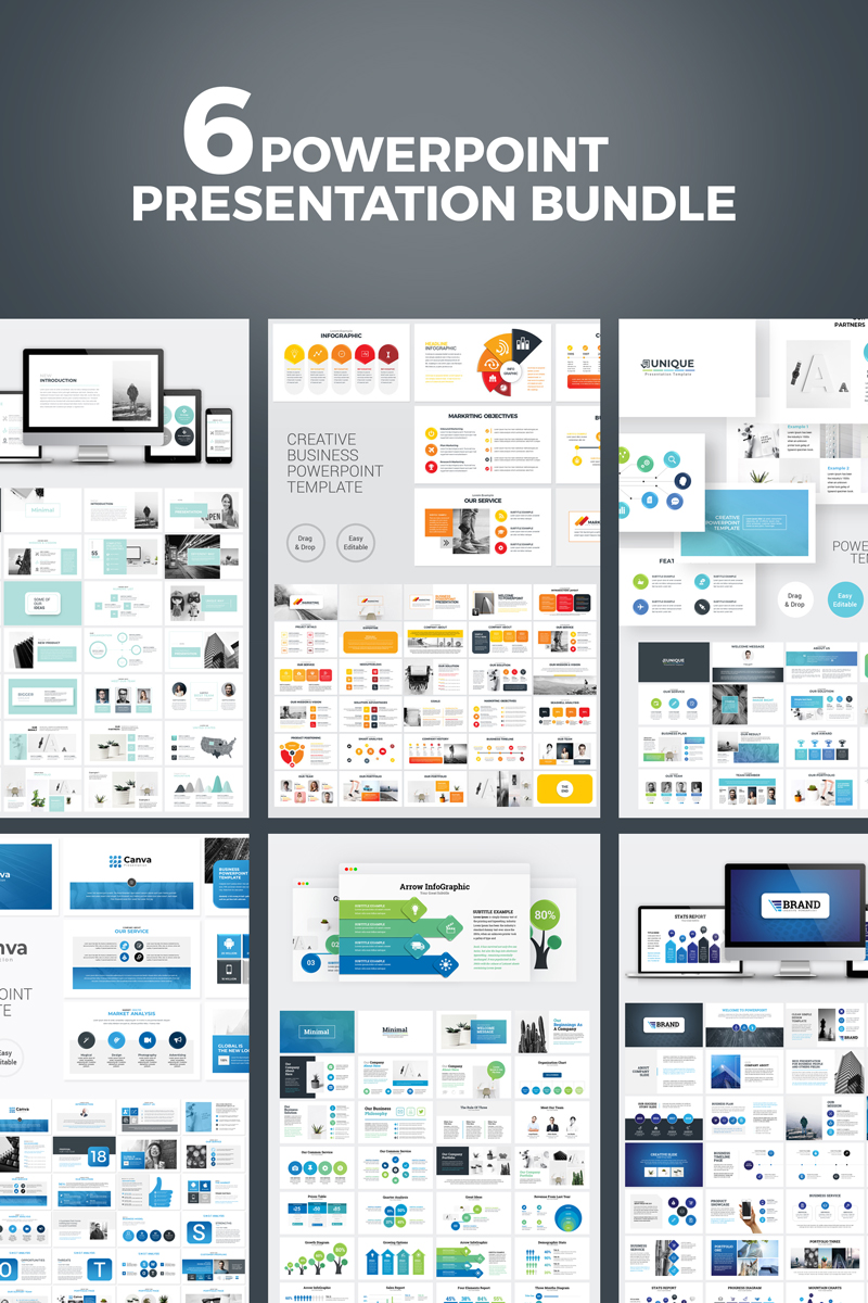 """Business Presentation Bundle"" PowerPoint 模板 #98385"
