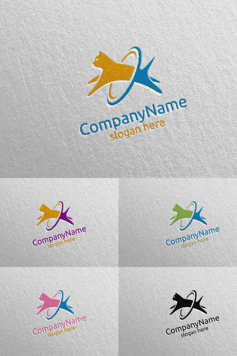 Cat for Pet Shop, Veterinary, or Cat Lover Concept 7 Logo Template - screenshot