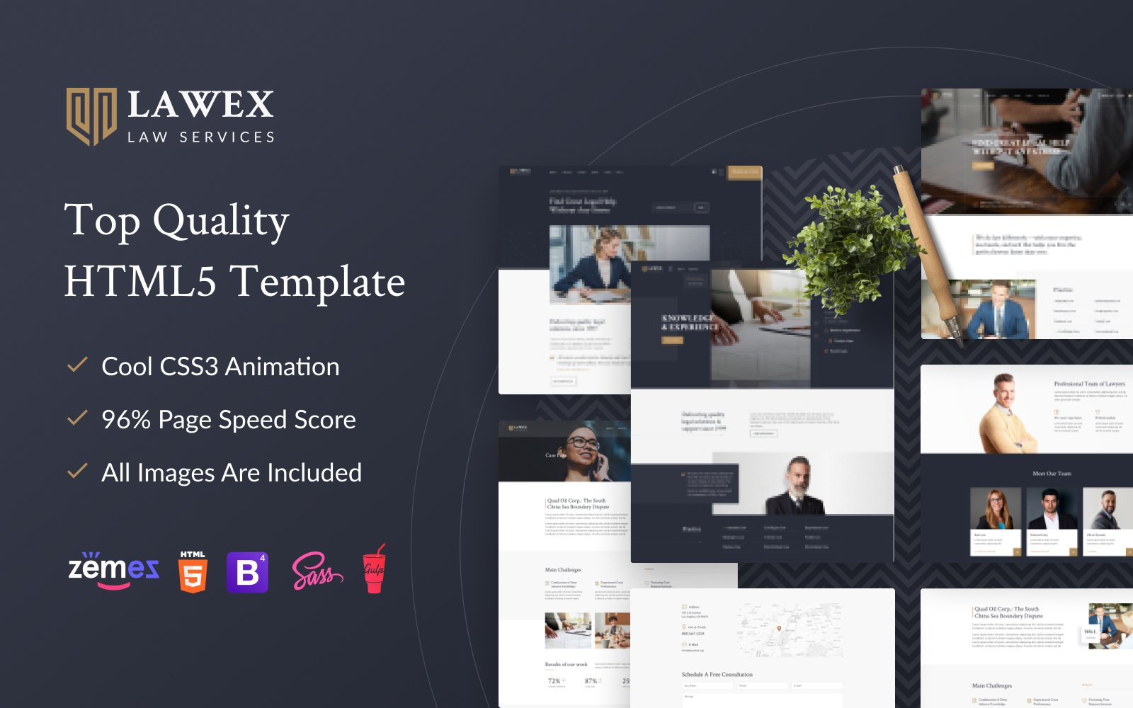 """""""Lawex - Law Company"""" Responsive Website template №98349"""