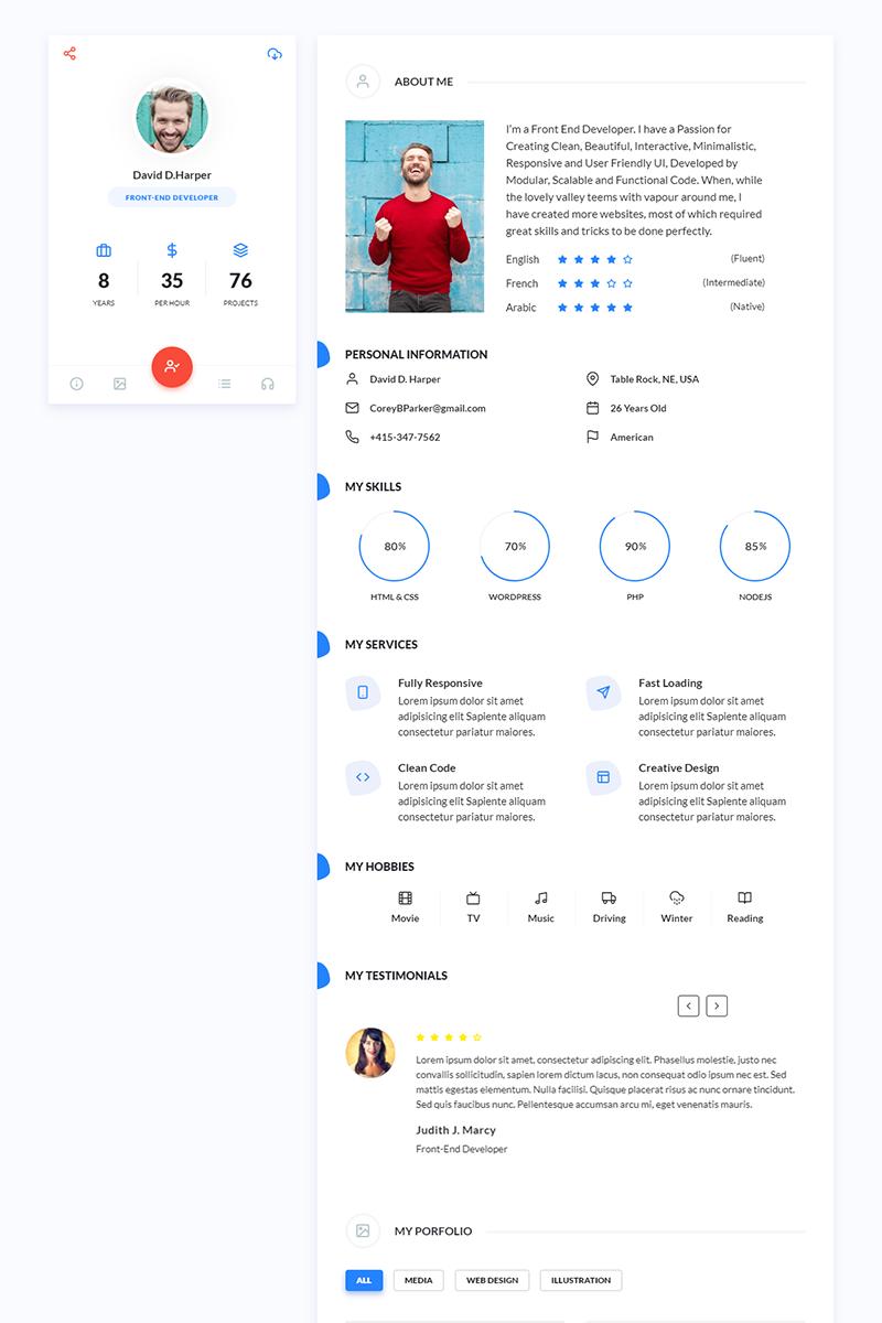 FantasyVcard - Portfolio / CV / Resume Landing Page Template