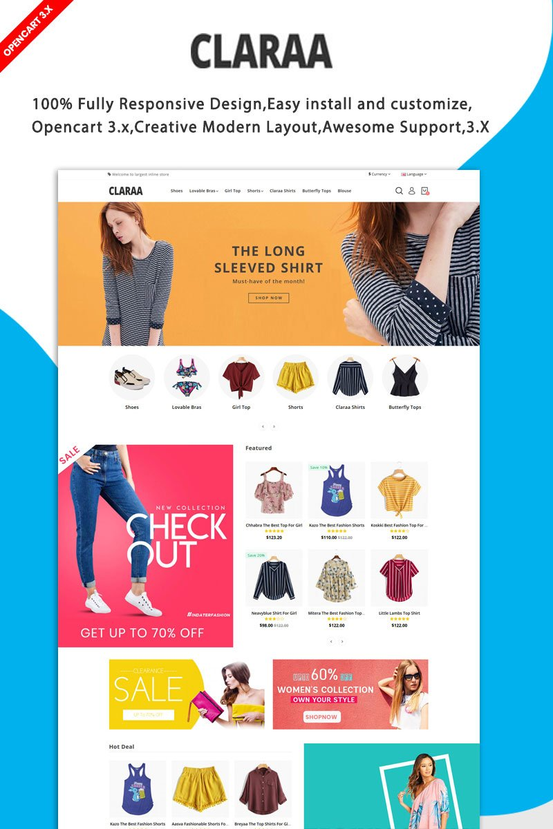 Claraa Fashion responsive Theme OpenCart Template - screenshot