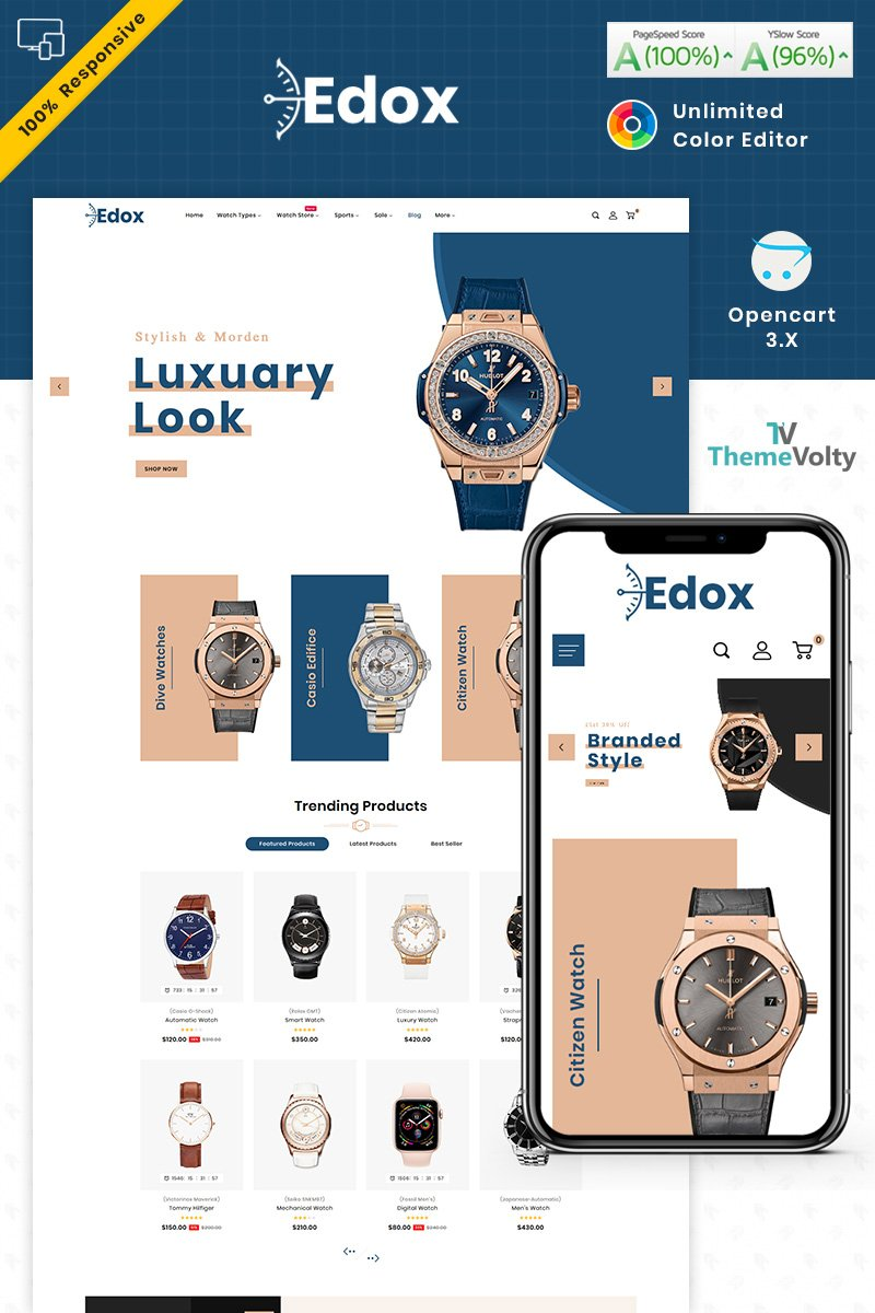 Edox Watch Store Theme OpenCart Template