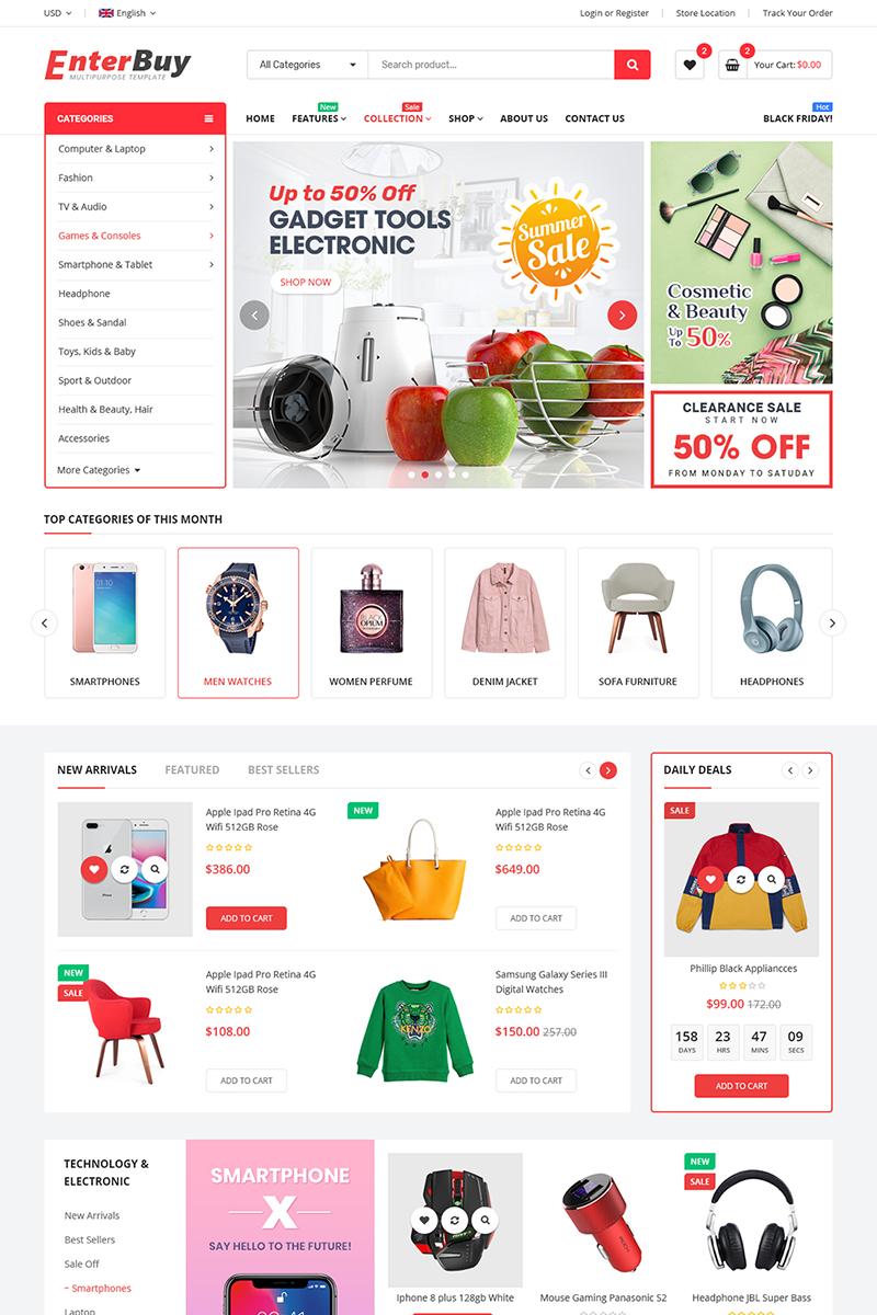 """EnterBuy - Premium Responsive"" bigCommerce Theme Bootstrap #98472"