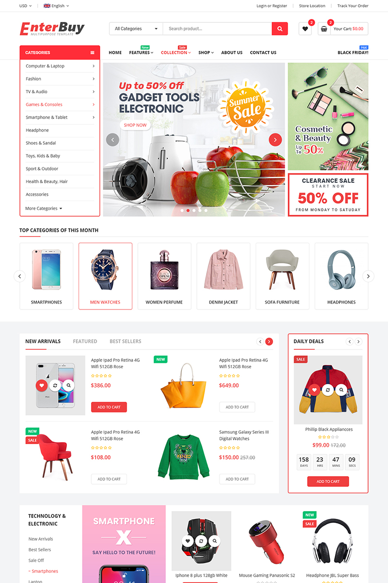 """EnterBuy - Premium Responsive"" Bootstrap BigCommerce Theme №98472"
