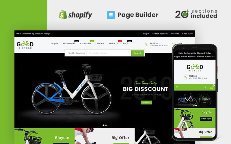 """""""Good Bikes & Bicycle Store"""" Responsive Shopify Thema №98485"""
