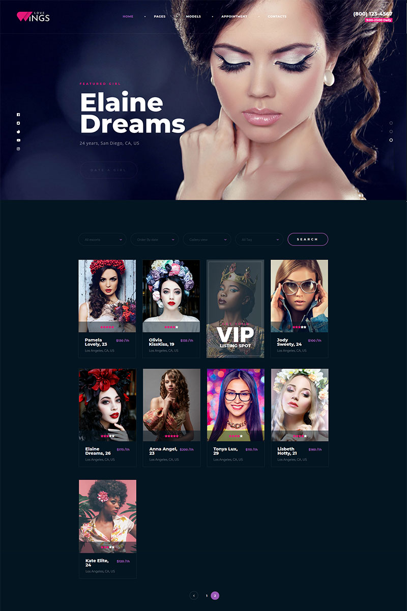 """""""Love Wings Relations and Dating"""" Responsive WordPress thema №98481"""