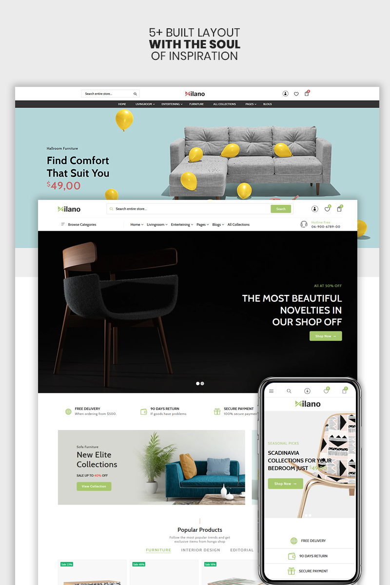 """Milano - The Furniture & Interior Premium"" thème Shopify adaptatif #98410 - screenshot"