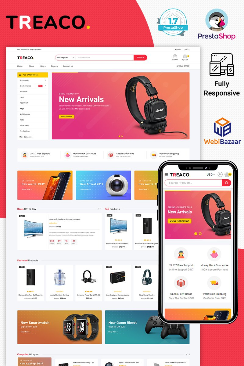 "PrestaShop Theme namens ""Treaco Electronic"" #98407"