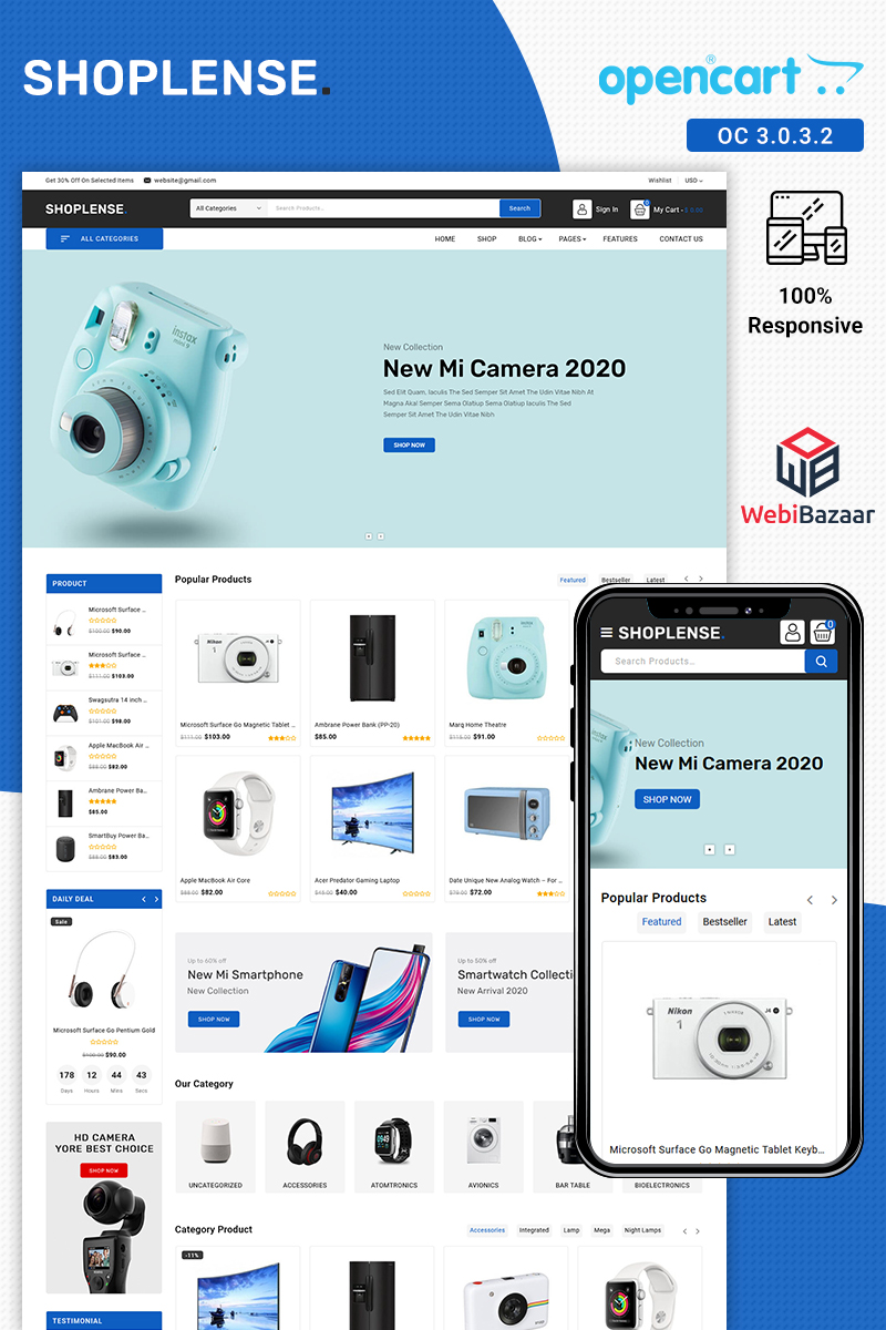 Shoplense - Electronics Premium OpenCart Template - screenshot