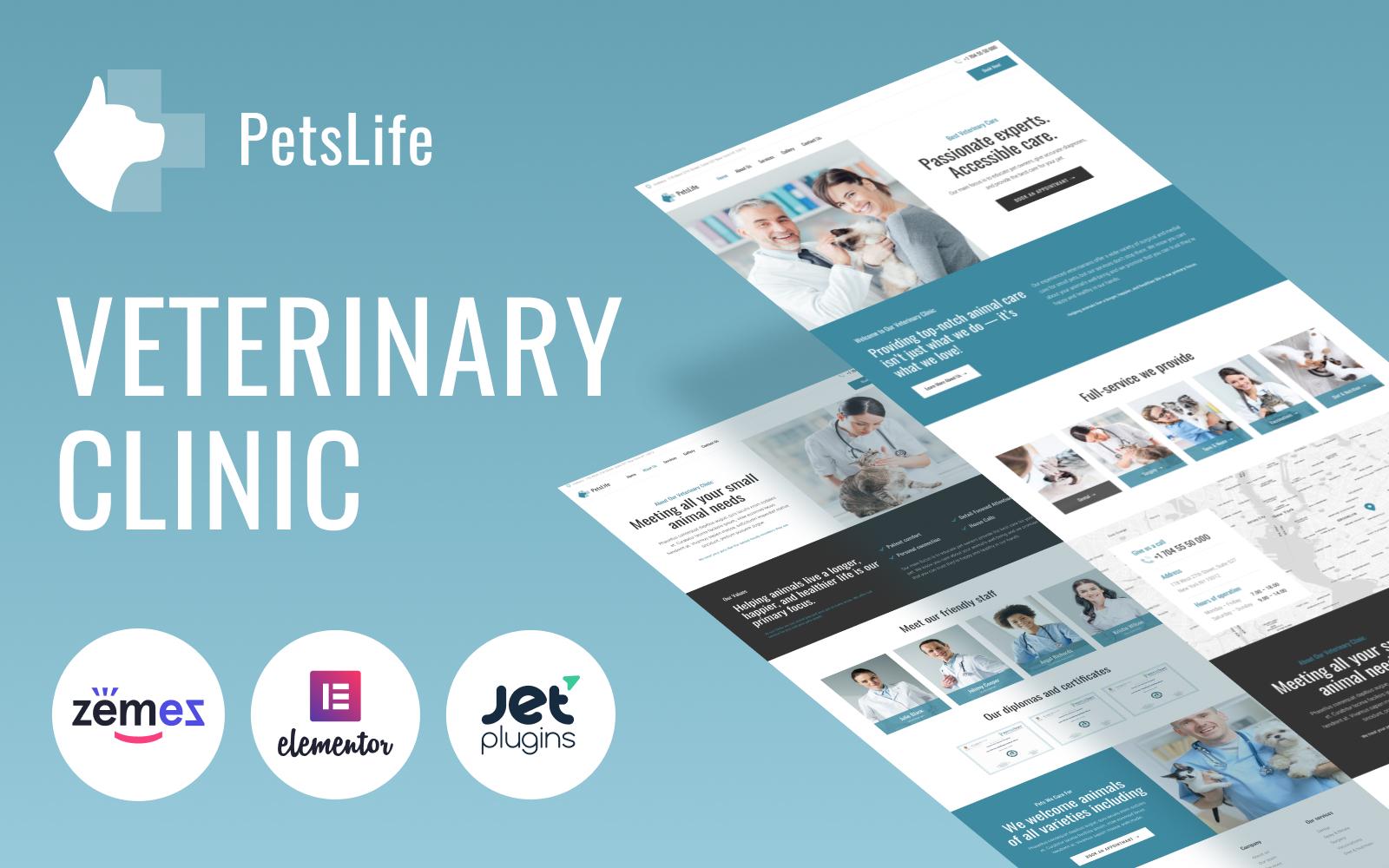 "Tema De WordPress ""PetsLife - Responsive Veterinarian"" #98490"