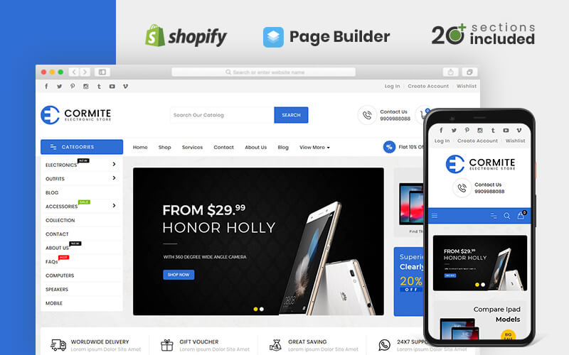 """Template Shopify Responsive #98476 """"Cormite Electronics Store"""""""