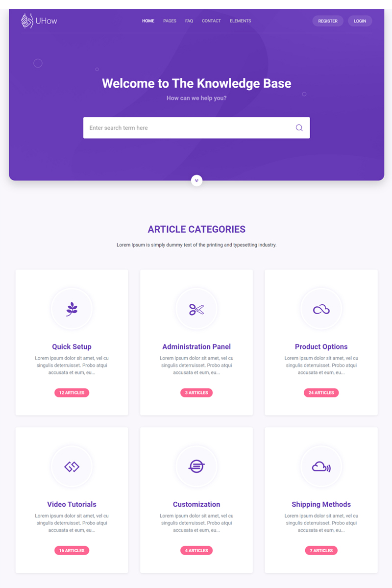 UHow-Helpdesk and knowldage Base and Documentation Website Template