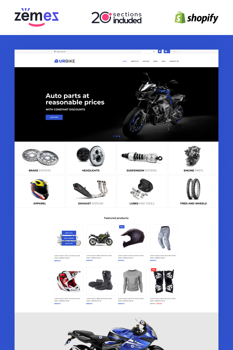 """""""Urbike -  Bikes Online Store Template"""" 响应式Shopify模板 #98418"""